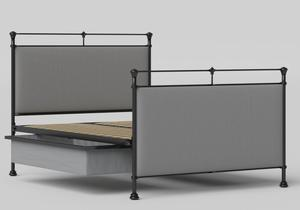 Lille Iron/Metal Upholstered Bed in Satin Black with Grey fabric shown with underbed storage - Thumbnail
