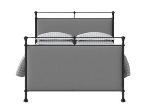 Lille Iron/Metal Upholstered Bed in Satin Black with Grey fabric - Thumbnail