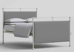 Lille Iron/Metal Upholstered Bed in Glossy Ivory with Grey fabric - Thumbnail