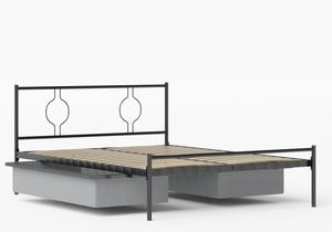 Meiji Iron/Metal Bed in Satin Black shown with underbed storage - Thumbnail