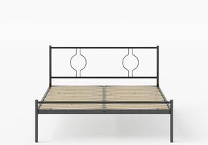 Meiji Iron/Metal Bed in Satin Black shown with slatted frame - Thumbnail