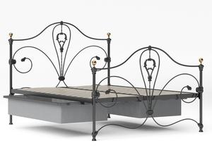 Melrose Iron/Metal Bed in Satin Black with Brass details shown with underbed drawer - Thumbnail