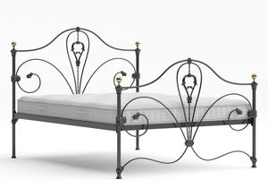 Melrose Iron/Metal Bed in Satin Black with Brass details shown with Juno 1 mattress - Thumbnail