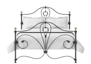 Melrose Iron/Metal Bed in Satin Black with Brass details  - Thumbnail