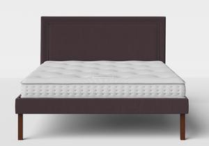 Misaki Upholstered Bed in Aubergine fabric shown with Juno 1 mattress - Thumbnail