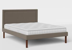 Misaki Upholstered Bed in Grey fabric shown with Juno 1 mattress - Thumbnail