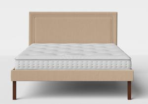 Misaki Upholstered Bed in Natural fabric shown with Juno 1 mattress - Thumbnail