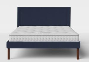 Misaki Upholstered Bed in Navy fabric shown with Juno 1 mattress - Thumbnail