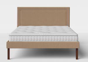 Misaki Upholstered Bed in Straw fabric shown with Juno 1 mattress - Thumbnail