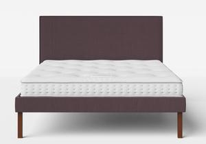Misaki Upholstered Bed in Aubergine fabric with piping shown with Juno 1 mattress - Thumbnail