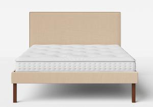Misaki Upholstered Bed in Natural fabric with piping shown with Juno 1 mattress - Thumbnail