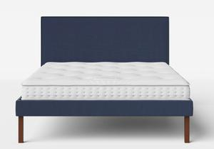 Misaki Upholstered Bed in Navy fabric with piping shown with Juno 1 mattress - Thumbnail