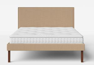Misaki Upholstered Bed in Straw fabric with piping shown with Juno 1 mattress - Thumbnail
