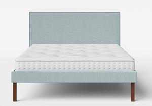 Misaki Upholstered Bed in Wedgewood fabric with piping shown with Juno 1 mattress - Thumbnail