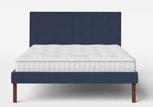 Misaki Upholstered Bed in Navy fabric with buttoning shown with Juno 1 mattress - Thumbnail