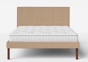 Misaki Upholstered Bed in Straw fabric with buttoning shown with Juno 1 mattress - Thumbnail