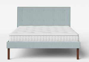 Misaki Upholstered Bed in Wedgewood fabric with buttoning shown with Juno 1 mattress - Thumbnail