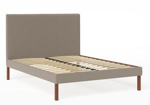 Misaki Upholstered Bed in Grey fabric  shown with slatted frame - Thumbnail