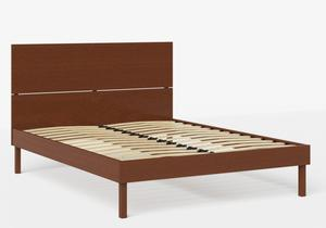 Misaki Wood Bed in Dark Cherry shown with slatted frame - Thumbnail