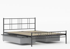 Mortlake Iron/Metal Bed in Satin Black shown with underbed storage - Thumbnail