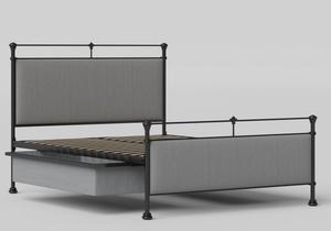 Nancy Iron/Metal Upholstered Bed in Satin Black with Grey fabric shown with underbed storage - Thumbnail