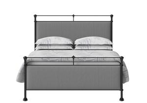 Nancy Iron/Metal Upholstered Bed in Satin Black with Grey fabric  - Thumbnail