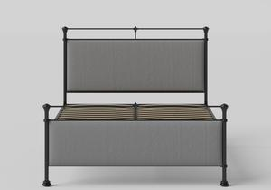 Nancy Iron/Metal Upholstered Bed in Satin Black with Grey fabric shown with slatted frame - Thumbnail