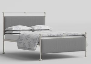 Nancy Iron/Metal Upholstered Bed in Glossy Ivory with Grey fabric  - Thumbnail