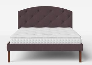 Okawa Upholstered Bed in Aubergine fabric with buttoning shown with Juno 1 mattress - Thumbnail