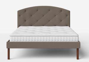 Okawa Upholstered Bed in Grey fabric with buttoning shown with Juno 1 mattress - Thumbnail