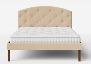 Okawa Upholstered Bed in Natural fabric with buttoning shown with Juno 1 mattress - Thumbnail