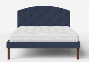 Okawa Upholstered Bed in Navy fabric with buttoning shown with Juno 1 mattress - Thumbnail