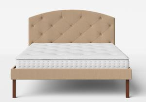 Okawa Upholstered Bed in Straw fabric with buttoning shown with Juno 1 mattress - Thumbnail