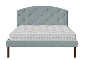 Okawa Upholstered Bed in Wedgewood fabric with buttoning shown with Juno 1 mattress - Thumbnail