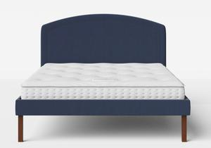 Okawa Upholstered Bed in Navy fabric shown with Juno 1 mattress - Thumbnail