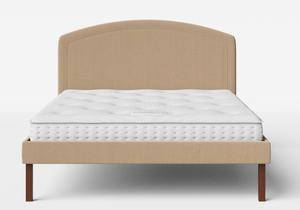 Okawa Upholstered Bed in Straw fabric shown with Juno 1 mattress - Thumbnail