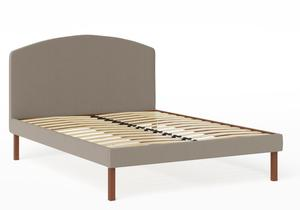 Okawa Upholstered Bed in Grey fabric shown with slatted frame - Thumbnail