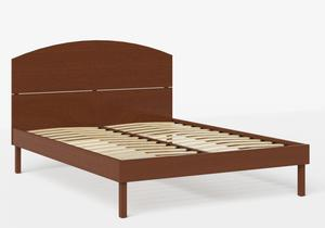 Okawa Wood Bed in Dark Cherry shown with slatted frame - Thumbnail