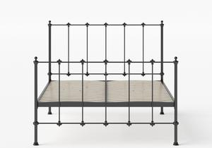 Paris Iron/Metal Bed in Satin Black shown with slatted frame - Thumbnail