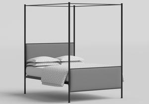 Reims upholstered four poster iron bed in Black - Thumbnail