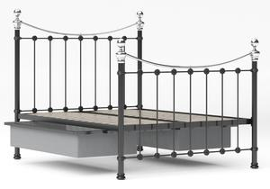 Selkirk Iron/Metal Bed in Satin Black with Chrome details shown with underbed storage - Thumbnail