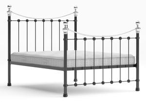 Selkirk Iron/Metal Bed in Satin Black with Chrome details shown with Juno 1 mattress - Thumbnail