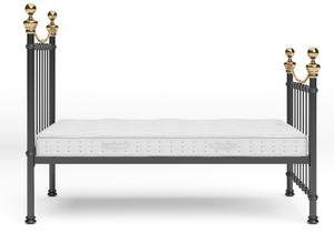Selkirk Iron/Metal Bed in Satin Black with Brass details shown with Juno 1 mattress - Thumbnail