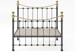 Selkirk Iron/Metal Bed in Satin Black with Brass details shown with slatted frame - Thumbnail