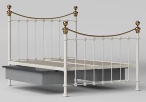 Selkirk Iron/Metal Bed in Glossy Ivory with Brass details shown with underbed storage - Thumbnail