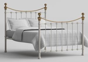 Selkirk Iron/Metal Bed in Glossy Ivory with Brass details shown with Juno 1 mattress - Thumbnail