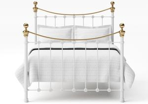 Selkirk Iron/Metal Bed in Satin White with Brass details  - Thumbnail