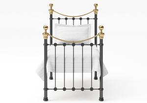 Selkirk Single Iron/Metal Bed in Satin Black with Brass details - Thumbnail