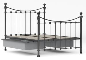 Selkirk Iron/Metal Bed in Satin Black with Black painted details shown with underbed storage - Thumbnail