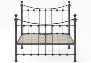 Selkirk Iron/Metal Bed in Satin Black with Black painted details shown with slatted frame - Thumbnail